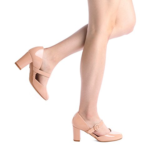 Classic Heel Dream Toe Charleen Women's Nude Fashion Closed Shoes High Pat Pairs Dress Pumps qTtTxn8