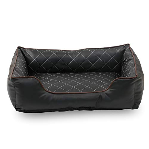 Happycare Textiles Luxury All Sides Faux leather Rectangle Pet Bed.  Black color, Large 31x23 inches ()