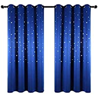 Anjee Christmas Starry Sky Curtains for Kids Room (2...