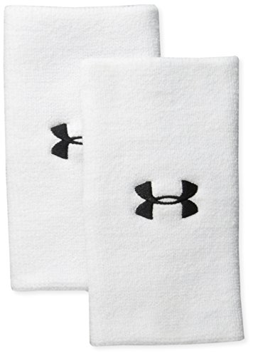 "Under Armour 6"" Performance Wristband 2-Pack, White (100)/Black, One Size"