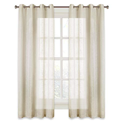 RYB HOME Linen Sheer Curtains for Bedroom, Privacy Semitransparent Voile Drapes Summer Refreshing Window Curtains for Country Garden/Farmhouse, Wide 52 inch x Long 45 inch, One Pair, Warm Beige