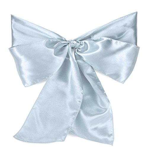 Lann's Linens Satin Chair Sashes / Bows - for Wedding or Banquet - Baby Blue - 10pcs (Pale Blue Dinner Set)