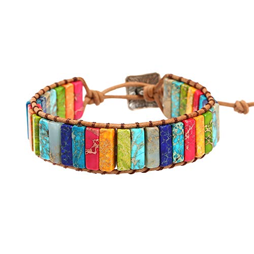 (IUNIQUEEN Leather Chakra Handmade Imperial Jasper Wrap Adjustable Bead Bracelet (Chakra)