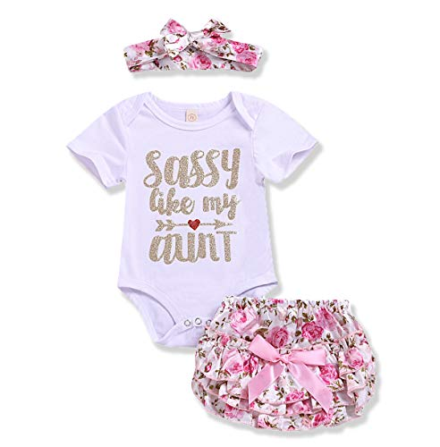 (Newborn Baby Girl Summer Clothes Letters Romper Floral Shorts Pink Headband Bodysuit 3Pcs Outfit Sets (Sassy Like My Anut, 0-6 Months))