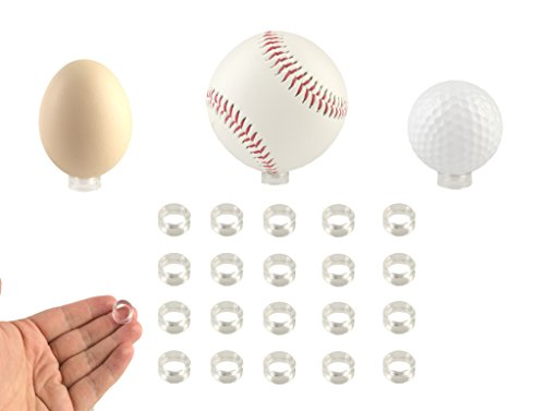 Small Clear Display Stand Ring Holder | 20 PCS (0.39 inches) | Round Beveled Pedestal for Dragon ball Golf Ball, Baseball, Egg, Spheres, Marble, Hold Up to 10lb, Perfect for Small Balls Collections ()