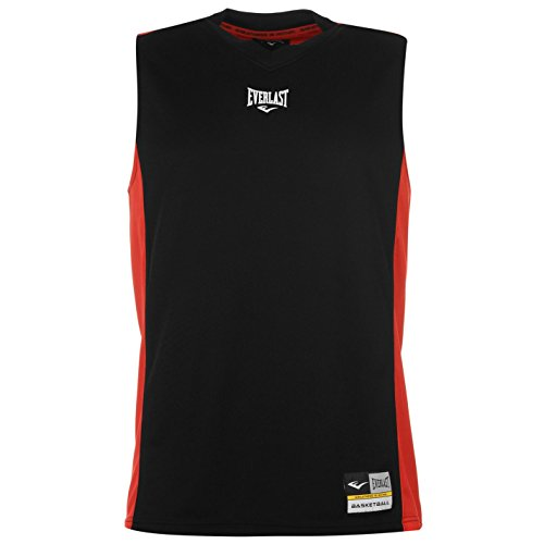 Everlast Mens Basketball Jersey V Neck Sleeveless Sports Training Athletic Top Black/Red XXXX-Large