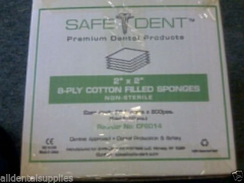 SafeDent - CF6014 Dental Cotton Filled Non-sterile Gauze 2'' X2'' 8 Ply 5000 / Case 25 Sleeves X 200