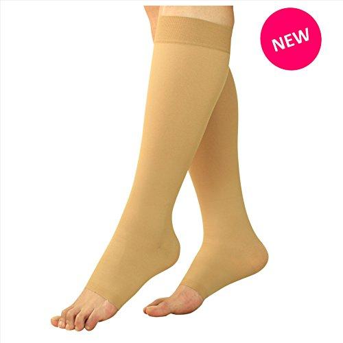 Maternité Bas de compression - Grossesse Collants Knee High bout ouvert