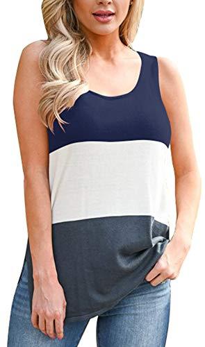 Sleeveless Block - VEAWLL Crewneck Color Block Tank Tops for Women Summer Funny Shirts Navy Blue XL