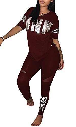 Chellysun Women Pink Letter Print Tracksuit 2 Piece Outfits Casual T-Shirt Tops and Skinny Long Pants (2 Piece Print Suit)