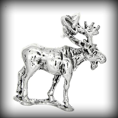 Sterling Silver Moose ELK Charm Pendant Vintage Crafting Pendant Jewelry Making Supplies - DIY for Necklace Bracelet Accessories by CharmingSS
