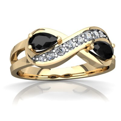 14K Yellow Gold Black Onyx and Diamond Pear Diamond Infinity Ring - Size 8