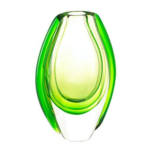 Accent Plus Colorful Glass, Art Nouveau Shallow Modern Vase and Gift (Green)