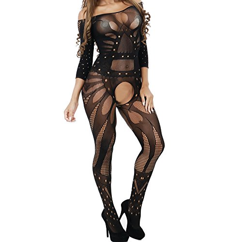 139236af3cc QuneusHot Black Teddy Nightie Leotard Body Catsuit Stocking Crotchless Babydoll  Lingerie