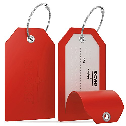 Shacke Luggage Tags with Full Back Privacy Cover w/ Steel Loops - Set of 2 (Red)