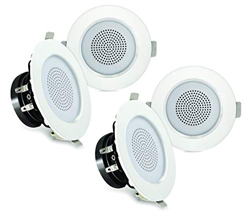 """Pyle 3"""" Bluetooth Flush Mount in-Wall in Ceiling 2-Way Home Speaker System Built-in LED Lights Aluminum Housing Spring…"""