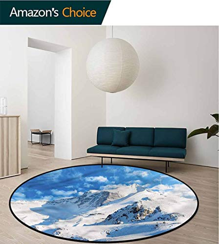 (RUGSMAT Mountain Dining Room Home Bedroom Carpet Floor Mat,Snowy Mountain Ski Lifts Basket Swivel Chair Pad Coffee Table Rug Round-59)