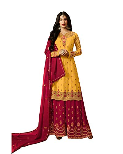 Delisa New Indian/Pakistani Sharara/Plazzo Style Salwar Suit for Women Party Wear (Yellow, ()