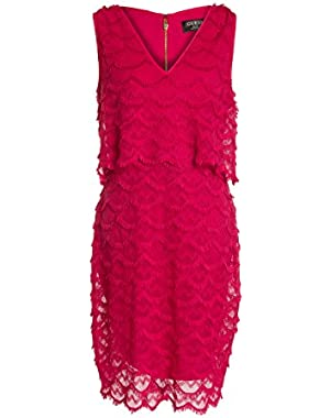 GUESS Women's Marian Scalloped Fringed Sheath Dress, Raspberry, 14
