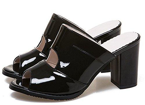 Peep Fashion Toe Slip Femme Mules Easemax Couleur Unie Noir Banquet on wfAn4nqER