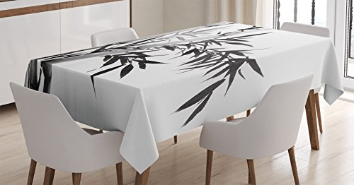 Asian Traditional Table (Bamboo Decor Tablecloth by Ambesonne, Bamboo Tree Illustration Traditional Chinese Calligraphy Style Asian Culture, Dining Room Kitchen Rectangular Table Cover, 60 X 90 Inches, Charcoal Grey White)