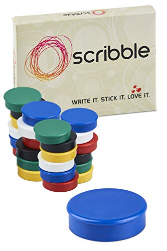 - Scribble 1 Inch Office Magnets (24 Pack), Colorful Round Refrigerator Magnets, Perfect for Whiteboards, Lockers & Fridge. Assorted Colors: Red, Blue, Green, Black, Yellow & White.