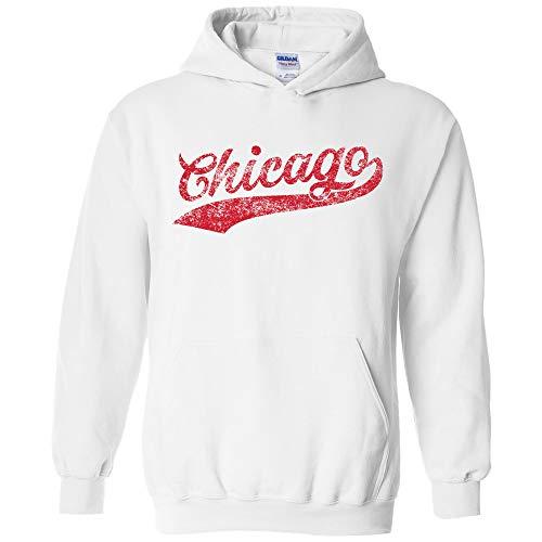 UGP Campus Apparel Chicago Baseball Script - Hometown Pride, Pitcher Hoodie - Medium - White