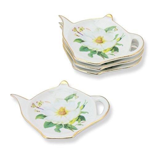 Grace Teaware Tea Bag Caddy Holder, Set of 4 (Magnolia)