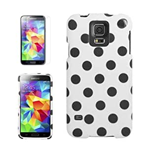 [ARENA] WHITE BLACK POLKA DOT COVER SNAP ON HARD CASE for SAMSUNG GALAXY S5 + FREE SCREEN PROTECTOR