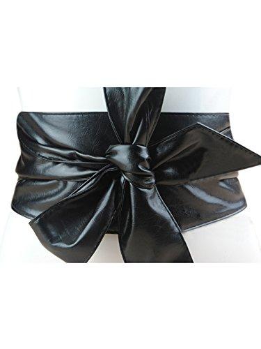 Women PU Leather Soft Self Tie Bowknot Band Wrap Around Sash Obi Belt ()