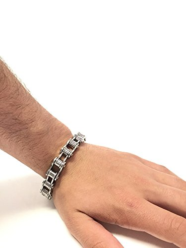 """Mens Stainless Steel Chained Bracelet 8.25"""""""