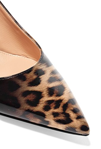 Shoes Toe Sammitop Women's Heel Kitten Leopard Pointed Slingback Dress Pumps Comfortable wPBIqB4xEg