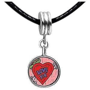 Chicforest Silver Plated Love Ya Photo Black Crystal Flower dangle Charm Beads Fits Pandora Biagi Troll Chamilia Kay's Beads Charms