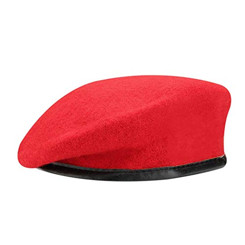 British Military Berets with Leather Sweatband, Adjustbale Army Black Wool Beret (One Size, -
