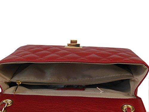 Canetti Rojo Napa Collezioni Quilted Bolso Piel qwAPnSg74q
