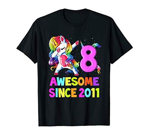 8 Years Old 8th Birthday Unicorn Dabbing Shirt Girl Party T-Shirt -
