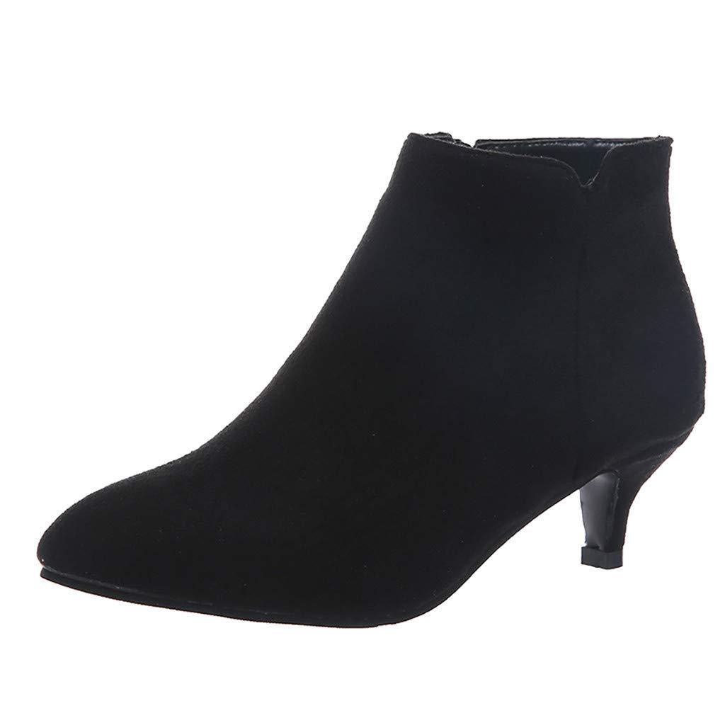 SSUPLYMY Damen Party Kurze Stiefel Elegant Wildleder Booties Mode Thin Med Heels Zipper Kurze Stiefel Solid Größe Freizeit Stiefeletten