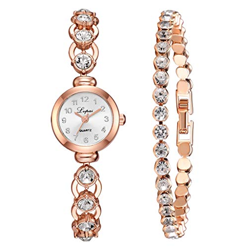 - Klions 2pcs/Set Luxury Fashion Simple Dial Steel Strip Watch Full Diamond Bracelet Set Best Gift for Girls Women,Love, Anniversary, Brithday, Valentine's Day,Women's Day