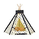 Teepee Tent Indoor Cat Dog House | Modern, Cute, Hiding Shelter & Bed | Yurt Includes a Washable Self Warming Sleeping Pet Pillow | Cozy Cave & Beds Fits for Small Dogs, Cats, Puppy or Rabbit