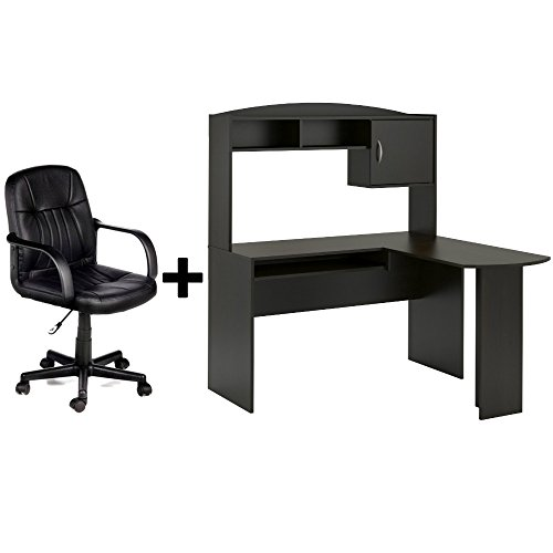 Corner L Shaped Wood Office Desk with Hutch in Espresso + Leather Mid-Back Chair in Black - Bundle Set Ameriwood Wood Seat