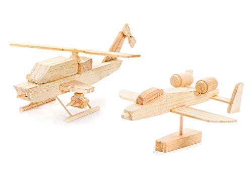Bomber Wood (Set of 2 Wood Model Kits- Bomber Plane and Helicopter)