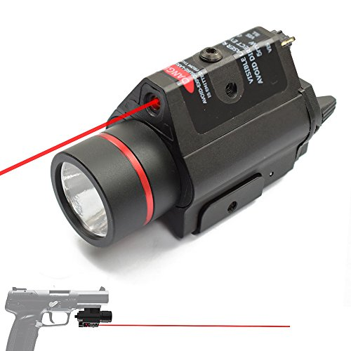 Airsoft Laser Handgun - Feyachi [UPDATED] Red Laser + 200 Lumen Flashlight Combo with Compact Rail Mount for Pistol Handgun
