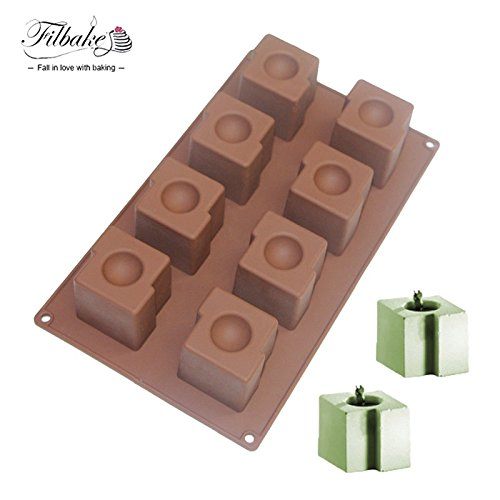(Star-Trade-Inc - 8 Cavity Square Circular Dessert Mousse Mold Silicone Molds for Ice Muffin chocolate Brownie Cheese cake and Pudding)