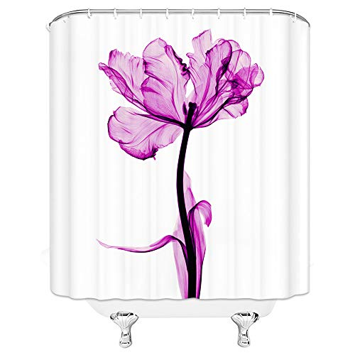 AMHNF Flower Shower Curtain Lily Under X-ray Watercolor Painting Modern Design Bathroom Decor Waterproof Fabric with 12 Hooks,70x70 Inch,White Purple ()