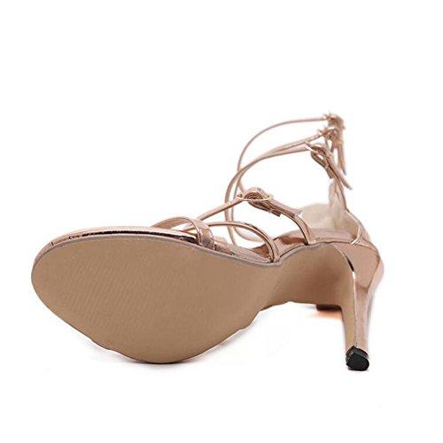 Talon Boucle Double Partie Black Dames Stiletto Sandales Là Peine Femmes À Haut Taille yc Sangle L Chaussures P7gRII