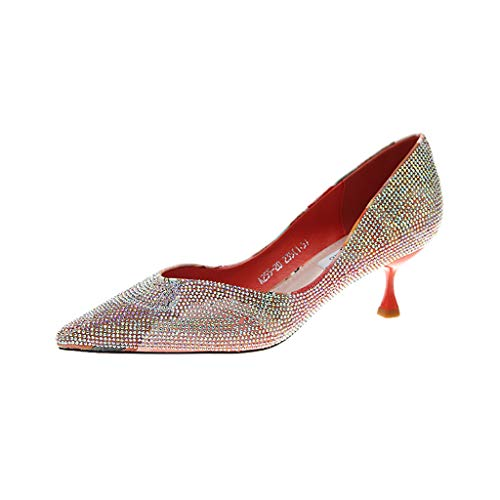 JUSTWIN Shallow Rhinestone Pointed Stiletto Shoes Women Crystal Toe High Thin Heel Party Shoes - Wool Elvis Suit