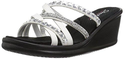 - Skechers Women's Rumblers - Glass Flowers - Rhinestone Multi-Strap Slide Sandal Wedge, White, 8.5 M US