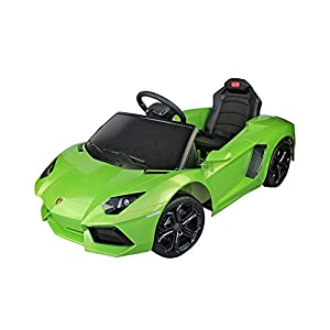 lamborghini aventador kids 6v electric battery powered ride on toy car with parent remote control green