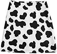 WDIRARA Women's Plus Size Cow Print Zipper Back Casual Mini S