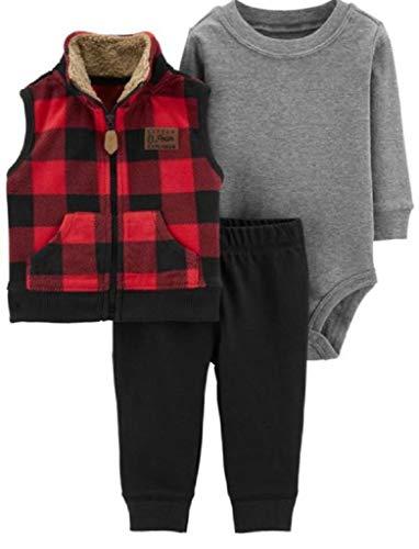 Carter's Baby Boys 3 pc Fleece Vest Set Multicolor Plaid